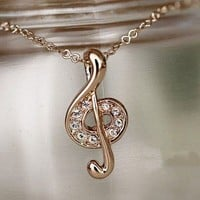 Studded Musical Note Necklace