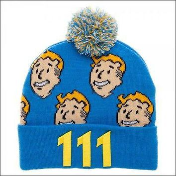 Fallout 4 Vault Boy 111 Blue Cosplay Costume Pom Roll Slouch Cuff Beanie Cap Hat