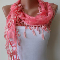 Salmon Pink Lace and Elegance Shawl / Scarf with by SwedishShop