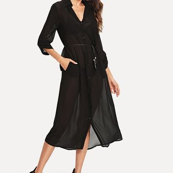 Roll Up Sleeve See Through Kimono With Belt
