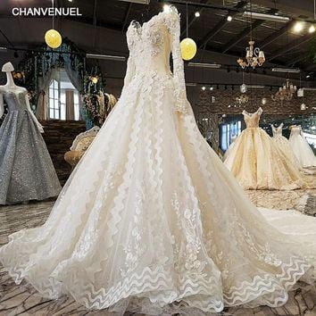 LS45120 luxury wedding dresses o-neck lace up full sleeve crystal flower ball gown beading wedding dresses from china real photo