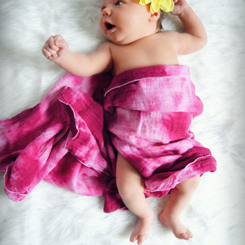 Hand Dyed Rose Pink Tie Dye Swaddle Blanket