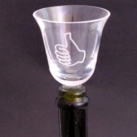 Wine glass sample glass  stopper Thumbs up or down