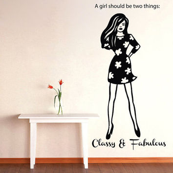 Wall Decals Girl should be two things fabulous and classy Quotes Vinyl Sticker Decal Girl Home Decor Bedroom Living Fashion Dress Gift ML19