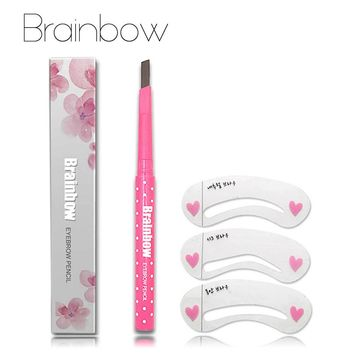 Brainbow Eyebrow Pencil Longlasting Waterproof Durable Automaric Eyebrow Liner+3 Eyebrow Shape Stencils Grooming Kit Makeup Tool