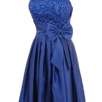 Alivila.Y Fashion Satin Strapless Sequins Cocktail Homecoming Party Dress 8122-Blue-4