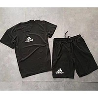 Adidas Summer Trending Men Casual Print Quick Dry Short Sleeve Top Shorts Set Two Piece Sportswear Black