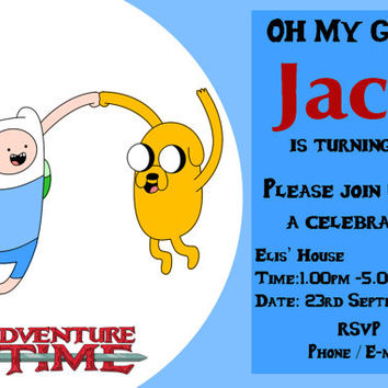 Adventure Time Printable Birthday Invitation 5 x 7/4 x 6