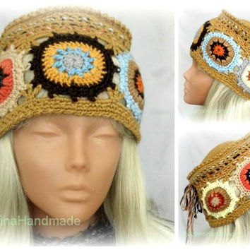 Crochet Granny Square Hat  Women Boho Beanie Country Style   Multicolor Original Design With Brushes