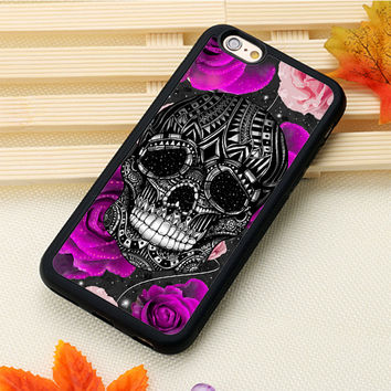 Sugar skull rose gothic flower girly Printed Soft Rubber Skin Phone Cases OEM For iPhone 6 6S Plus 7 7 Plus 5 5S 5C SE 4S