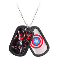 Licensed Steel Captain America Double Dog Tag Pendant Necklace