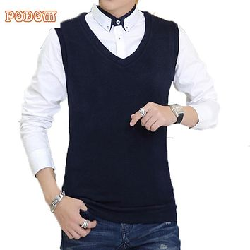Autumn Winter Classic Vest Sweater Knitwear Men Sleeveless Knitting Sweaters Solid Color V-Neck Wool Pullovers Men Jersey Hombre