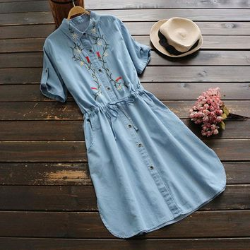 2017 Short Sleeve Blue Denim Dress Elastic Waist Floral Embroidery Dress Quality Guarantee YK011