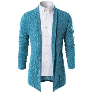 Doublju Men's Long Sleeve Slub Shawl Open Front Cardigan (KMOCAL082)