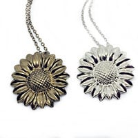 Sunflower Necklace: Helianthus pendant, flower charm