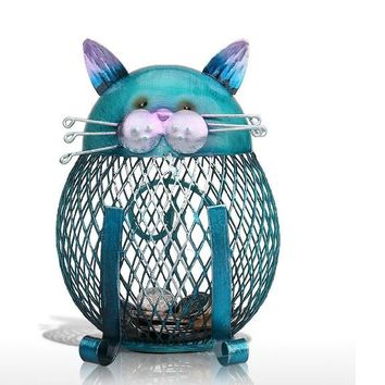 Blue Cat Bank Shaped Piggy Bank Metal Coin Bank Money Box Figurines