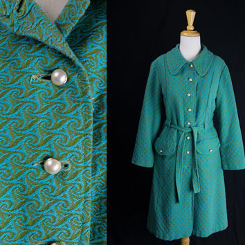 Vintage 70s MOD Princess Coat Blue and Green Pearl Buttons M SPRING SALE!