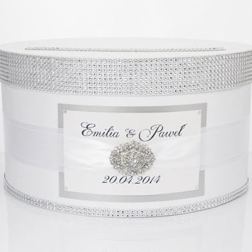 Card box / Wedding Box / Wedding money box - white and silver - personalized
