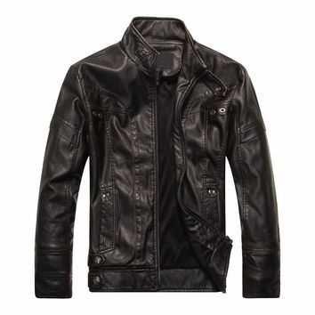 hot And Winter men's leather jacket men's jackets PU leather coat motorcycle Solid color Windproof jacket