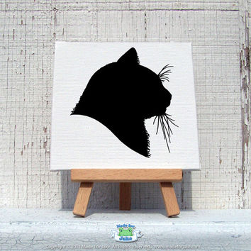 Custom Mini-Canvas pet Silhouette 4x4  hand painted from your photo ORIGINAL ART