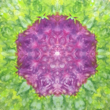 mandala tie dye tapestry or wall hanging in purple and green