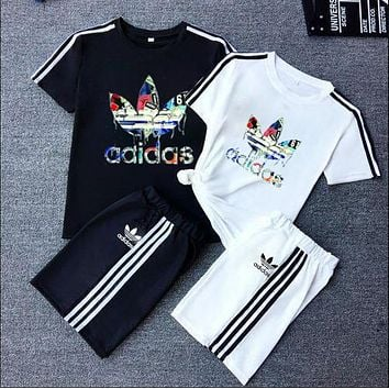 """""""Adidas""""Unisex Lover Leisure Fashion Letter Personality Printing Spell Color Short Sleeve Shorts Two-Piece Set Casual Wear"""