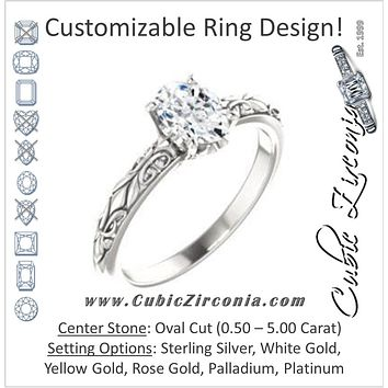Cubic Zirconia Engagement Ring- The An Chen  (Customizable Oval Cut Solitaire featuring Delicate Metal Scrollwork)