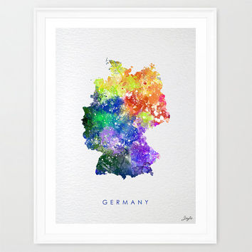 Germany Map,world Map,Watercolor Art Print,Wall Art Poster/Hanging,Home Decor,Kids Art,Motivational,Inspirational, #208