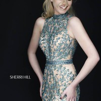 Sherri Hill 1963 Short Dress Sweetheart Bodice Jewel Neck Keyhole Back