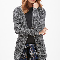 FOREVER 21 Ribbed Knit Marled Cardigan Black/White