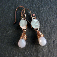White Chalcedony Stone Earrings in Bronze - Modern Romance Collection - White and Gold Dangle Earrings