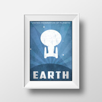 Star Trek Poster, Planet Earth, United Federation of Planets, Movie Poster