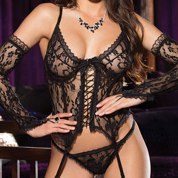 Black Floral Lace Teddy Lingerie