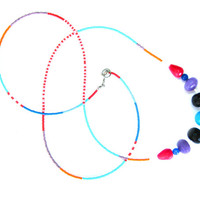 Long Seed Bead Necklace - Gem Stone Necklace - Extra Long Tribal Necklace - Color Block Necklace - Colorful Necklace - Summer Necklace