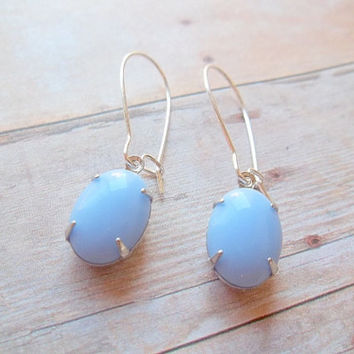 B I S H O P - Vintage Turquoise Periwinkle Light Sky Blue Stone Silver Plated Kidney Wire Dangle Earrings