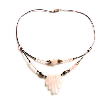 Vintage Rose Quartz Necklace - Southwestern Boho Style - Liquid Silver - Bib Necklace - Festival Fashion - Pink Stone - Gift For Her
