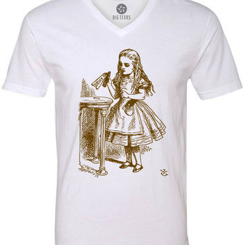 Alice in Wonderland - Drink Me (Brown) Short-Sleeve V-Neck T-Shirt
