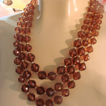 Vintage Faux Amber Bib Bead Necklace /  1950s 1960s / Hong Kong / Jewelry / Jewellery