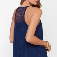Bountiful Navy Blue Lace Tank Top
