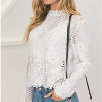 hirigin women Back white Lace hollow long sleeve blouse turtleneck Top Summer Blouses for Women 2017 Cap Elegant Blouse female