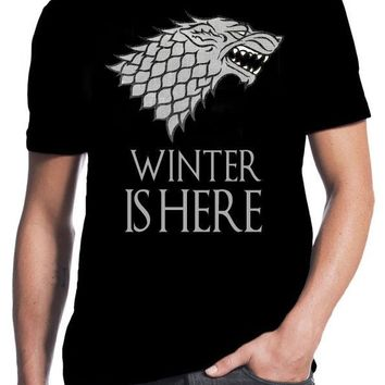 Game of Thrones Winter Is Here Stark Winterfell Wolf Black T-Shirt