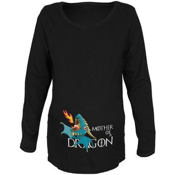 CREYCY8 Mother of a Dragon Cute Blue Fire Maternity Soft Long Sleeve T Shirt