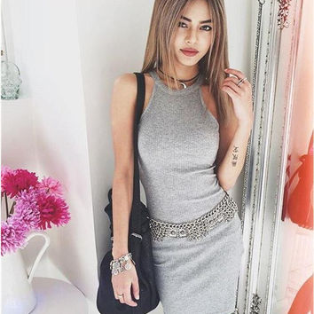 Knitted Sleeveless Body-con Dress