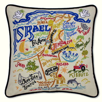 Israel Hand Embroidered Pillow