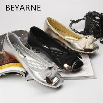 BEYARNE 2018 women's bow flat shoes square shallow mouth toe flat heel boat shoes ladle shoes single shoes