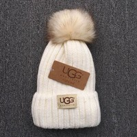 ICIKN6V UGG Trending Fashion Casual  Knit And Pom Hat Cap Warm Woolen Hat Gray