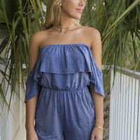 Taking Shape Indigo Off The Shoulder Romper
