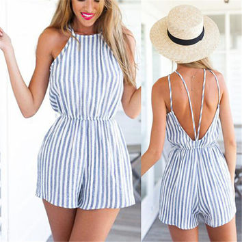 Summer Halter Backless Romper Jumpsuit - Trouser Style