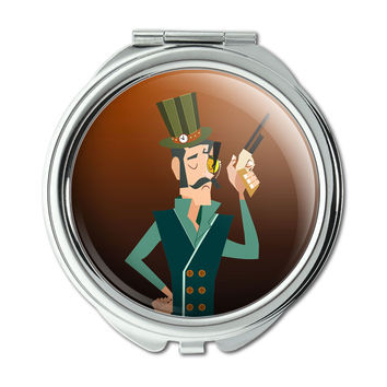 Steampunk Gentleman Brown Teal Science Fiction Compact Purse Mirror
