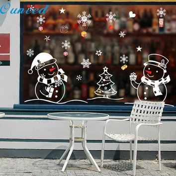 Christmas Snowman Removable Home Vinyl Window Wall Stickers Decal Decor waterproof Hot Pretty drop shipping Nov3